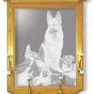 "22""x26"" ""Rookies"" by Linda Picken German Shepard Police Dog Coat Rack with Etched Mirror"
