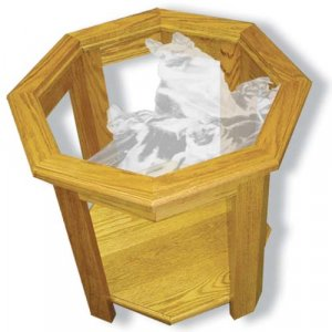 """22""""x22""""x20"""" tall German Shepard Police Dog Octagon End Table w/ Etched Glass"""