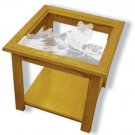 "22""x22""x20"" tall German Shepard Police Dog Square End Table w/ Etched Glass"