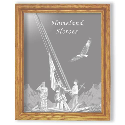 "27""x35"" Rectangular Homealnd Heroes Etched Wall Mirror"