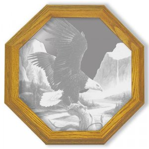 "13"" octagon ""Freedom"" American Ealge Etched Wall Mirror"
