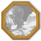 "28"" octagon ""Freedom"" American Bald Eagle Etched Wall Mirror"
