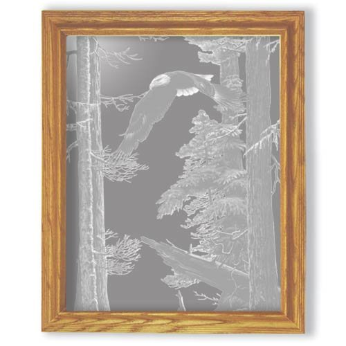 "19""x23"" rectangular ""American Heritage"" American Bald Eagle Etched Wall Mirror"