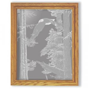 "27""x35"" rectangular ""American Heritage"" American Bald Eagle Etched Wall Mirror"