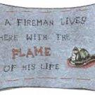 """9""""x13"""" """"A Fireman Lives Here..."""" Pillow"""