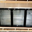 "72"" 3 Door Back Bar Cooler Refrigerator, with Stainless Steel Top and Glass Doors - UBB-24-72G"