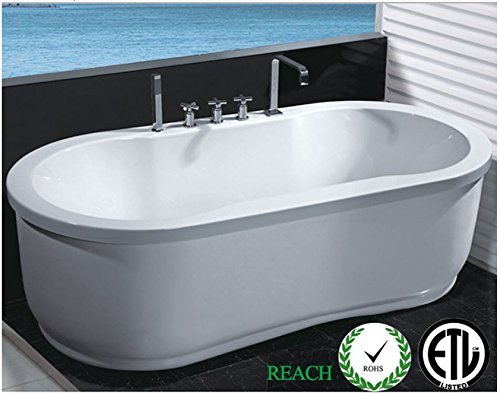 Freestanding Jetted Massage Hydrotherapy Bathtub Indoor Soaking Tub 37a