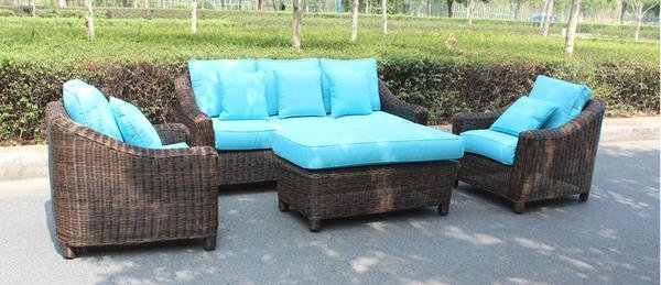 4 Piece Full Round Wicker Weave Outdoor Patio Furniture Set, 4 Color ...