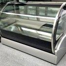 "47.25"" Curved Glass Bakery Countertop Refrigerator Display Case, LED Lights & Adjustable Shelf"