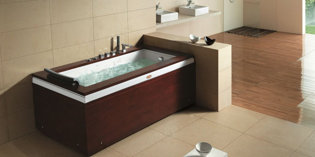 1 Person Luxury Massage Hydrotherapy Solid Wood Bathtub