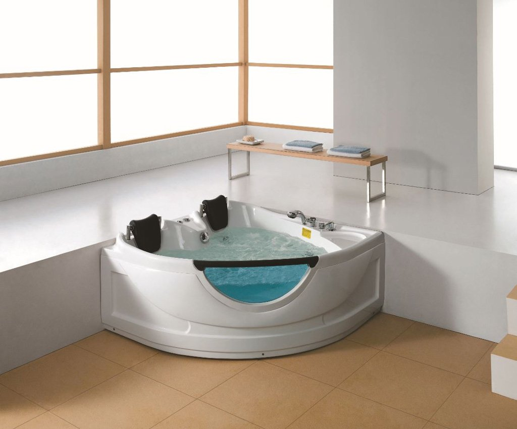 2 Person Luxury Massage Hydrotherapy Corner Bathtub Tub