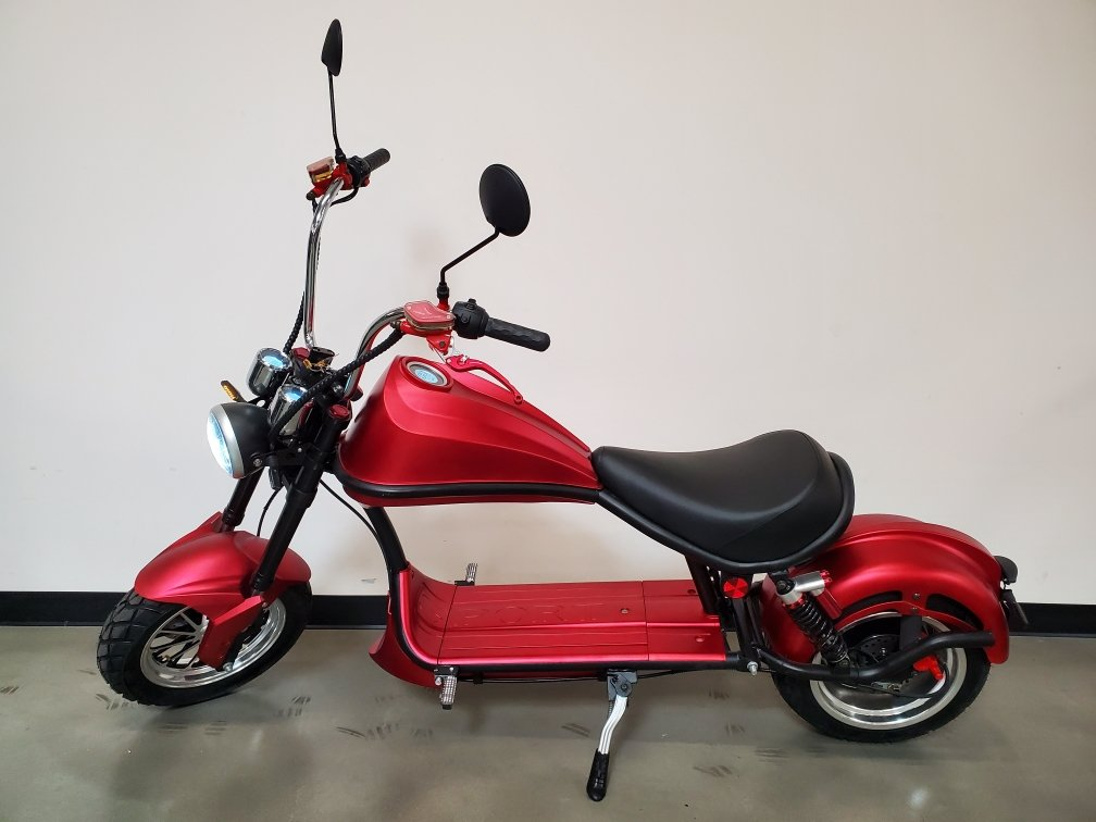 3000W 60V 30AH Electric Wide Tire Scooter Chopper Harley Design Motorcycle Bike Oxblood Red