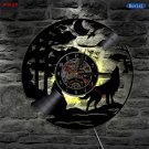 Wolf vinyl clock clock music group decoration retro wall clock and color change LED lights