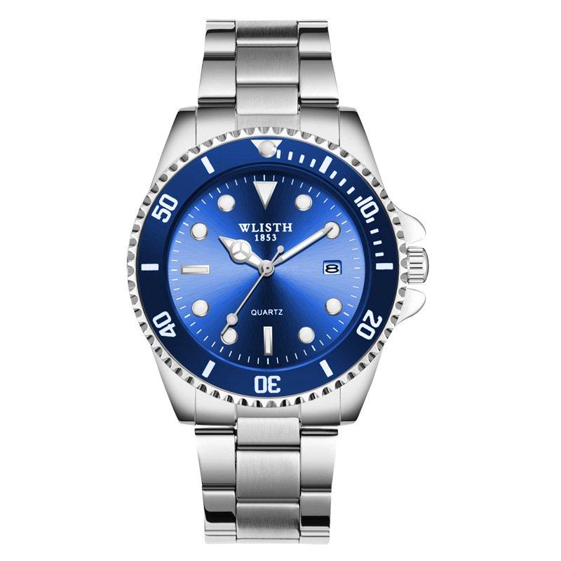 Blue stainless steel sports waterproof calendar casual business men's watch