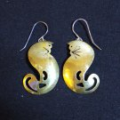 Brass cats dangling earrings ear wires vintage cm1031