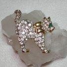 Rhinestone encrusted cat brooch pin elegant vintage cm1058