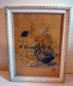 Portuguese cat print framed vintage white Persian Angora kitten flower arrangement cm1092