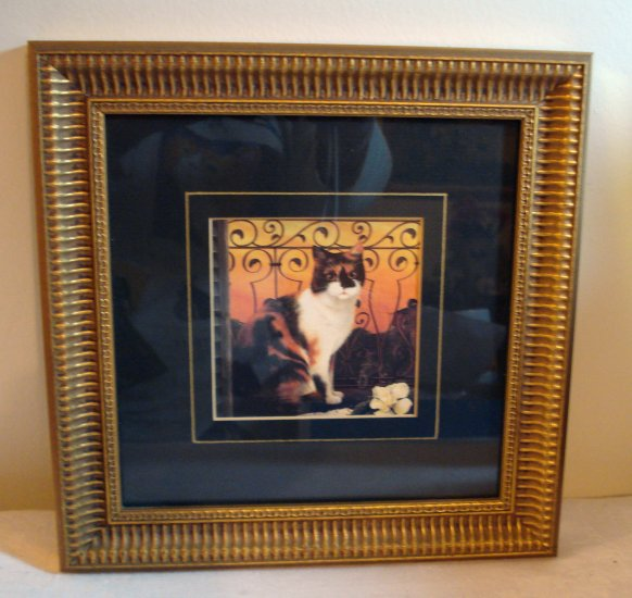 Calico cat with gardenia picture framed matted print  cm1099
