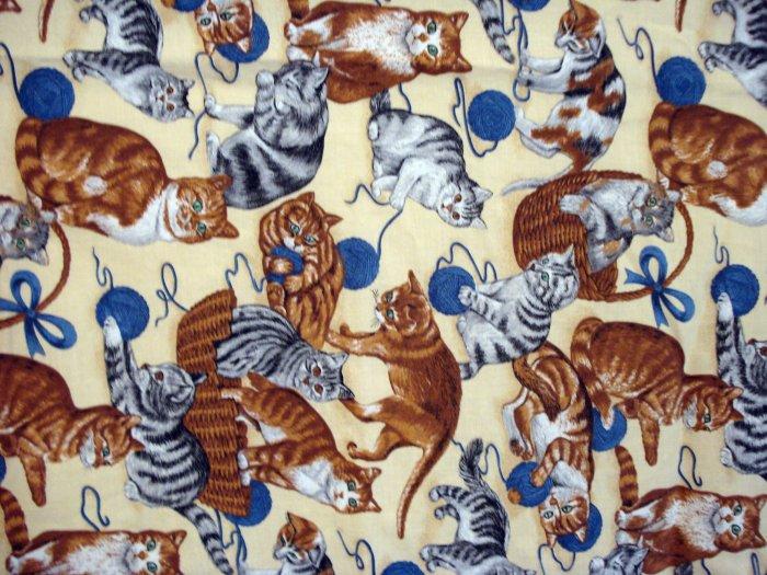 Cat print fabric chef style cotton apron excellent vintage cm1107