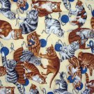 Cat print fabric chef style cotton apron excellent vintage cm1107