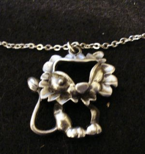 Pewter cutwork cat kitten lion pendant on chain cat collectibles cm1117