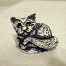Bekka curled cat figurine plaster or ash handmade vintage cm1287