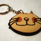 Comic cat face rubber key chain pale orange unused cm1295