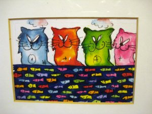 Cats and fish picture original watercolor and ink plexiglass oak frame cm1312