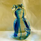 Lead crystal glass cat figurine Solvang California blue as new vintage cm1331