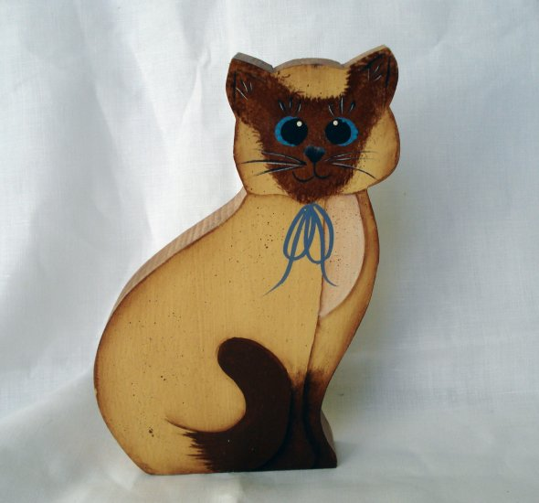 Wooden hand made Siamese cat for dowel rod or plant stake Dana Cullis vintage cm1332