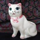 Small old ceramic cat planter pink trim sweet face vintage cm1333