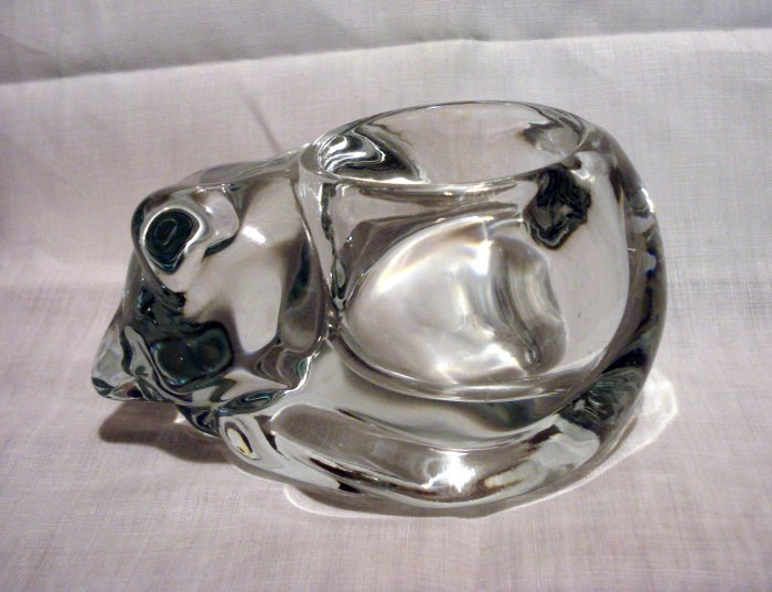 Heavy clear glass sleeping cat votive candle holder vintage cm1334