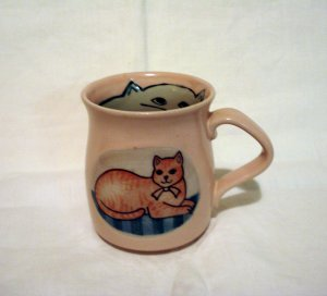 Pink hand made coffee mug hand drawn cats in and out unused vintage cm1384