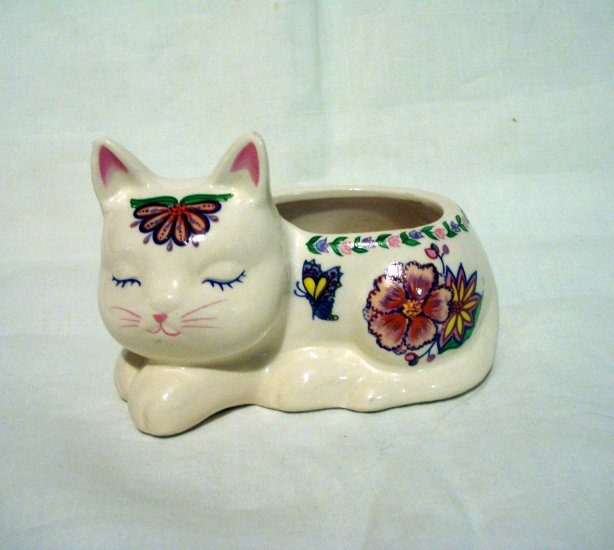 Ceramic Sleeping Cat Tiny Planter Candle Holder Etc