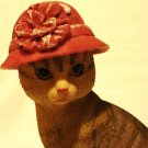 Red hat cat figurine demure tabby composite material vintage cm1396