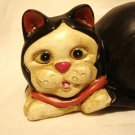 Black and white tuxedo cat ceramic figurine matte finish vintage excellent cm1410