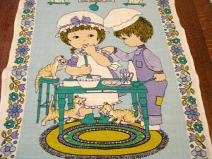 Good Friends Too Many Cooks cats in the kitchen linen towel Ulster vintage cm1415