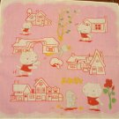 Hello Kitty pink cotton hanky with bird rose houses preowned cm1416