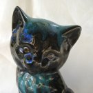 Drip glazed kitten figurine red clay green tone Blue Mountain vintage cm1427