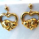 Avon cats sleeping in hearts drop earrings gold tone pierced preowned perfect cm1393