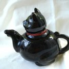 Black cat ceramic individual teapot red cold paint damaged vintage cm1454