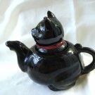 Black cat ceramic individual teapot red cold paint damaged vintage cm1454