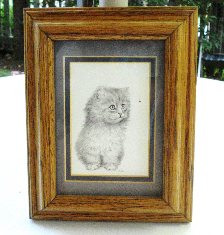 Long haired kitten with spider print V Miller oak frame Persian cm1455