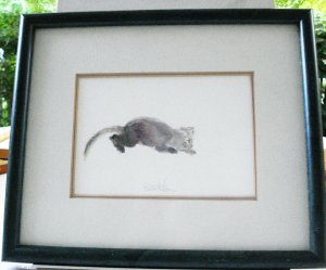 Cat kitten chasing string watercolor signed Patrick Liu Lin framed preowned 4 way cm1459