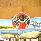 Isle of Man souvenir tea towel with Manx cat unused vintage cotton cm1465