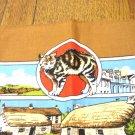 Isle of Man souvenir tea towel with Manx cat unused vintage cotton cm1465