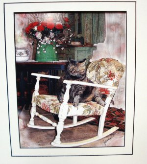Fat Cat in the Rocking Chair Jenny Wolpert manipulated image art print double matted signed cm1466