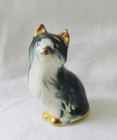 Tuxedo cat hand decorated ceramic figurine black white gold vintage cm1486