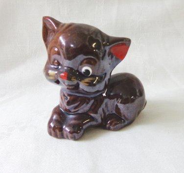 Brownware red clay kitten figurine cold paint Japan vintage cm1487