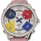 Men's Jacob & Co. Five Time Zones with Diamond Bezel & Pink Strap